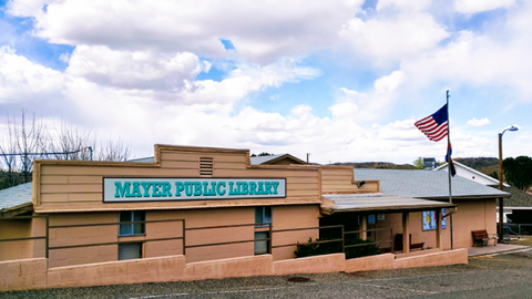 Mayer Public Library exterior shot of building