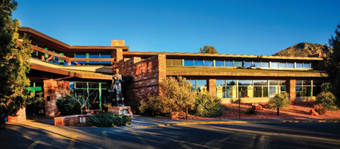 Exterior shot of the Sedona Public Library building