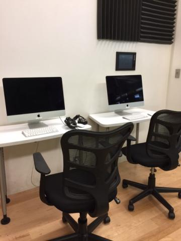 Media lab with mac desktop computers